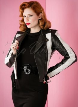 50s Beetlejuice Leather Jacket in Black and White