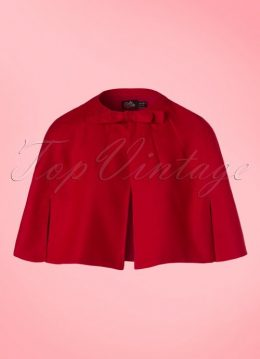 50s Sabrina Bow Cape Shrug in Red
