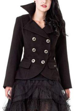 Dip Collar jas zwart - XL - Queen of Darkness