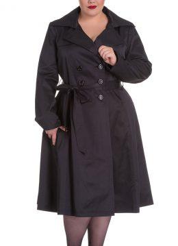 Bacall trench coat jas zwart - Vintage 50's - XXXXL - Hell Bunny