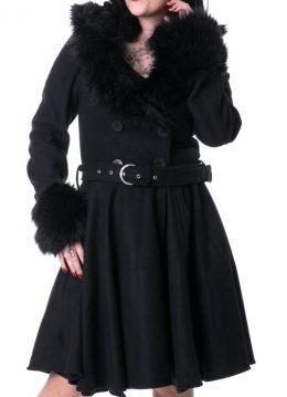 Linsy lange winterjas met nepbont detail en riem zwart - Gothic Rockabilly - XL - Rockabella