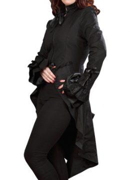 Pirate coat - zwarte jas met lange achterkant, gothic, fantasy stijl - S - Burleska