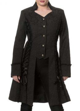 Power Becomes Her lange jas met brokaat patroon en lint detail zwart - Gothic Metal - XL - Banned