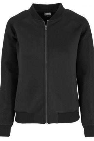 Basic dames jacket vest met gaasstof mouwen en steekzakken zwart - XL - Urban Classics