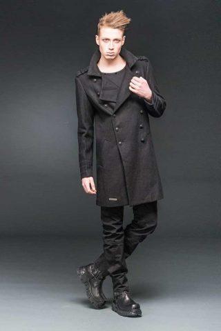 Military coat jas met hoge kraag zwart - Metal Rock - XXL - Queen of Darkness