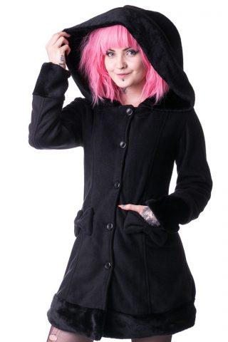 Valarie winterjas met grote capuchon en nepbont detail zwart - Gothic - XL - Vixxsin