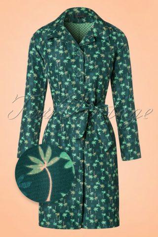 60s Loren Palm Coat in Dragonfly Green
