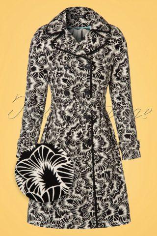 60s Blizzy Trenchcoat in Black and Cream