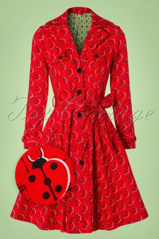 50s Glienicke Spy Swap Trenchcoat in Lovely Ladybug Red