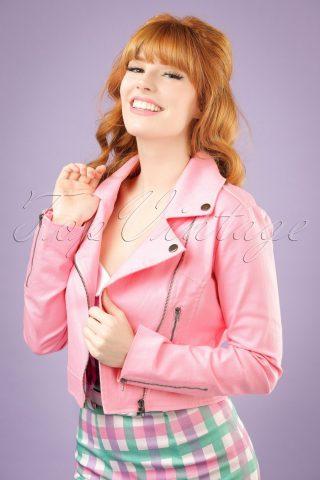 50s Outlaw Biker Jacket in Bubblegum Pink