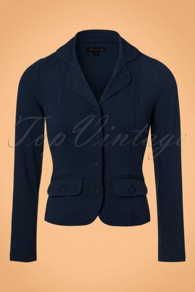 40s Milano Crepe Blazer Jacket in Dark Navy