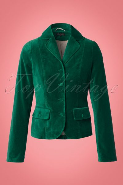 60s Woven Velvet Blazer in Peacock Green