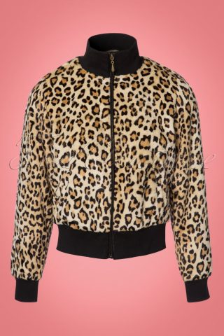 60s Rib Collar Fur Jacket in Leopard