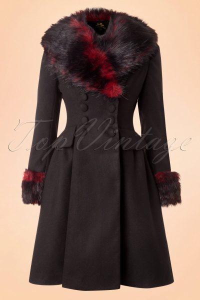 50s Rock Noir Coat in Black and Red