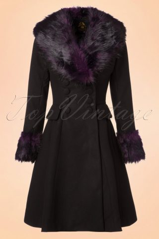 50s Rock Noir Coat in Black and Purple