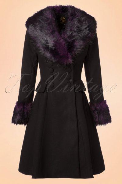 50s Rock Noir Coat in Black and Purple