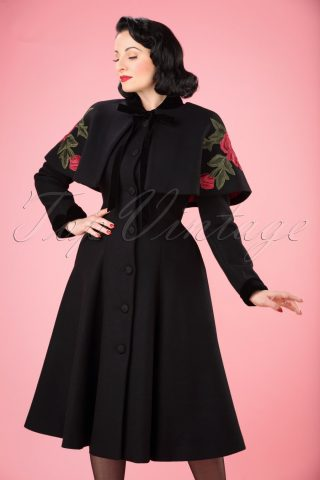 40s Claudia Coat And Floral Cape in Black Wool