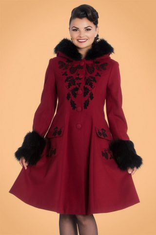 50s Sherwood Coat in Burgundy and Black