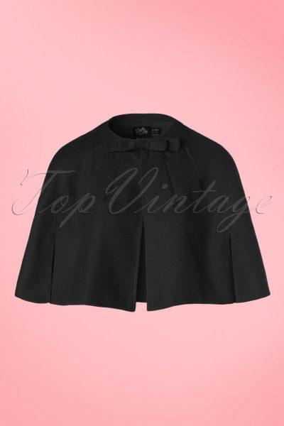 50s Sabrina Bow Cape Shrug in Black