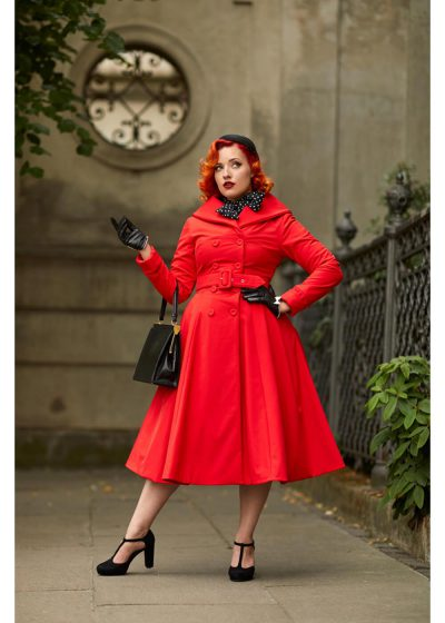 Miss Candyfloss Myriam Water Afwerende 50's Swing Jas Rood